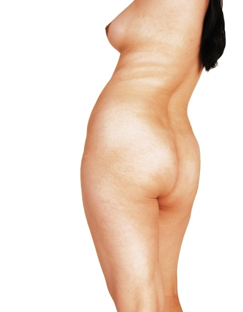 The beautiful nude body of a young Asian woman, from the back, showingher nice curves and long black hair, for white background  Stock Photo - 13183869