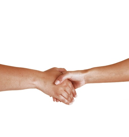 Two woman shaking there hands to seal the friendship  photo