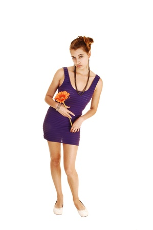 A pretty and young woman in a lilac dress with a flowers in her handstanding from the front for white background  photo