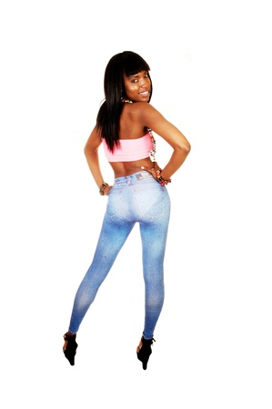 nice butt: A beautiful young black woman standing from the back for white backgroundshowing her nice figure and round butt and long black hair