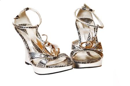 high heels woman: A silver pair of high heels woman