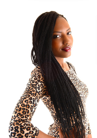 plait: A portrait picture on a lovely young black woman with long braid hairstanding for white background