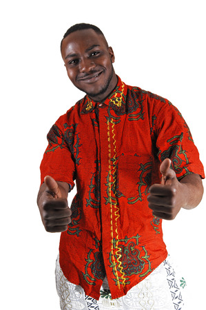 stretched out: A handsome young black man in a colorful shirt and stretched out armsand thump up, for white background