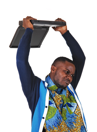 A angry black man throwing his laptop over his head, for white background