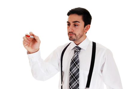 suspender: A young man in a white shirt and black tie and suspender writing ona glass wall, for white background
