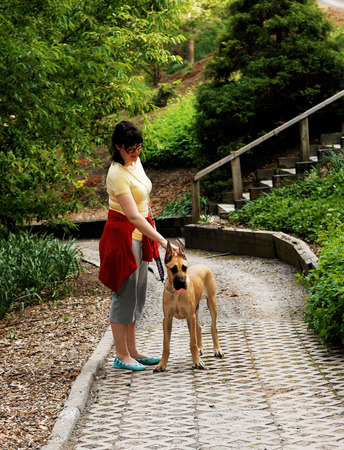 A woman with her Great Dane dog standing in the park  photo