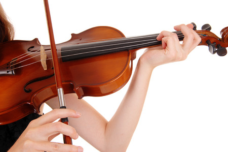 A closeup picture of a woman playing the violin, isolated for whitebackground  photo
