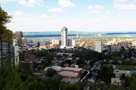 View from the Hamilton mountain of the lower city and the harbourin the summertime. photo