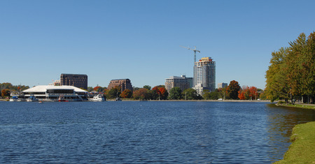 The end or beginning of the Rideau canal in Ottawa, Ontario Canada,on a sunny day.