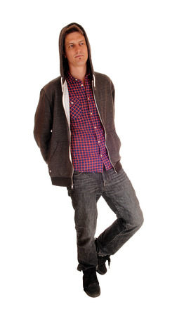 cool backgrounds: A full body picture of a handsome young man in a hoody and jeans, isolated for white background. Stock Photo