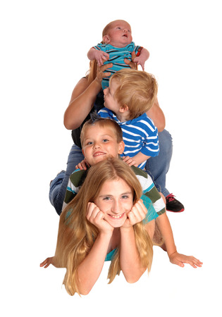 weeks: A pyramid of one girl and three boys, the top is three weeks old, isolated for white background.