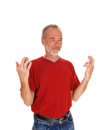 mal: A good looking middle age mal standing waist up isolated for white background in a red t-shirt.