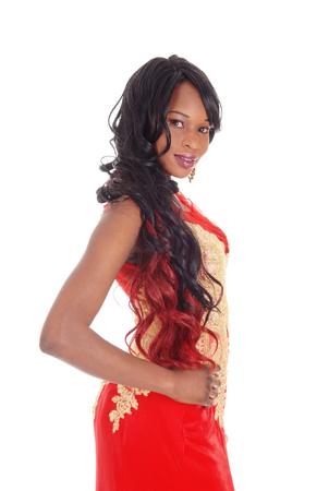 A gorgeous African American woman standing in profile in an evening dresswith gold embroideries and long black hair isolated for white background.