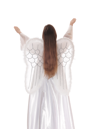 satin dress: An angel in a long white satin dress with wings and long brown hair standing from the back with both arms raised isolated for white background.