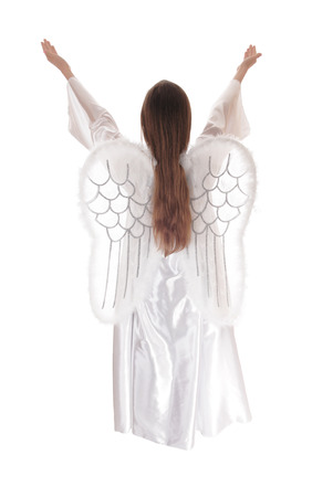 satin dress: An angel in a long white satin dress with wings and long brown hair standingstanding from the back with both arms raised isolated for white background.