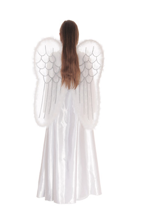 satin dress: A angel in a long white satin dress with wings and long brown hairstanding from the back isolated for white background.