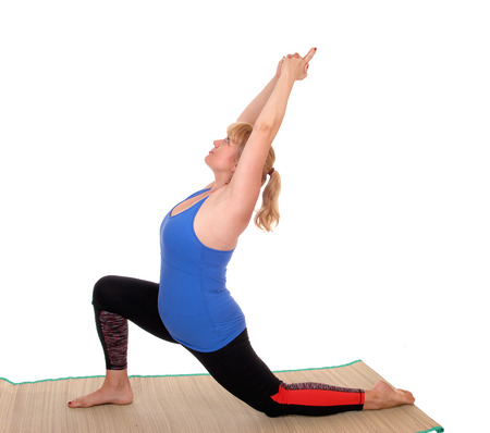 A lovely blond woman in yoga outfit showing some poses for yoga stretching, isolated for white background.