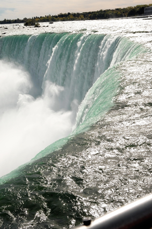 horseshoe falls: A closeup image of the Canadian Falls in Niagara Falls how the water is going over the edge on the horseshoe falls.