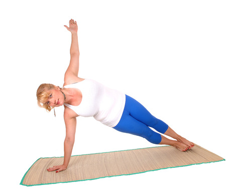 yogic: A lovely blond woman is yoga outfit showing some poses for yoga exercises, isolated for white background.