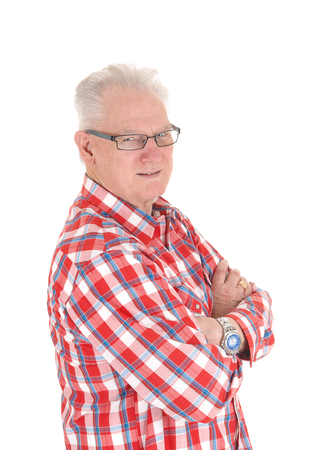 A closeup image of a white hair senior man in a checkered shirt and  glasses in profile, isolated for white background.