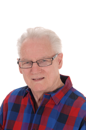 A closeup image of a white hair senior man in a checkered shirt and  glasses, isolated for white background. Stok Fotoğraf