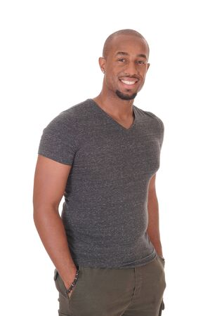 A young handsome African American man standing waist up in the