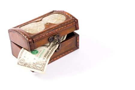 Isolated wooden treasure chest with dollar  on white background Stock Photo