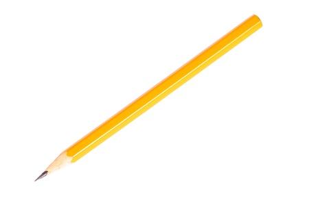 grafit: Ołówek grafitu koloru żółtego samodzielnie na biaÅ'ym tle bez odcienia Zdjęcie Seryjne