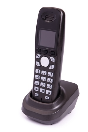 Phone of black color, digital, wireless, isolated on a white background Stock Photo