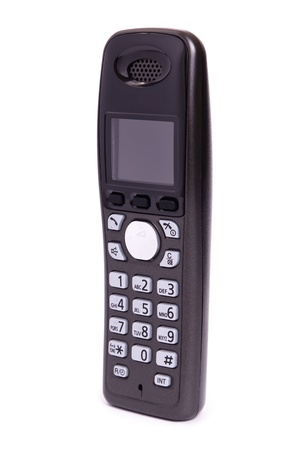 Phone of black color, digital, wireless, isolated on a white background Stock Photo - 8573518