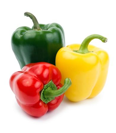 パプリカ (唐辛子) 赤、黄色および緑の色、白い背景で隔離 写真素材
