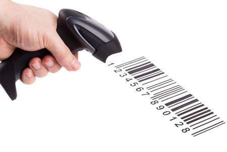 the reader: The manual scanner of bar codes in man hand Stock Photo