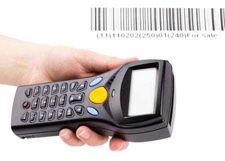 bar code reader: Esc�ner manual electr�nico de c�digos de barras en la mano de la mujer