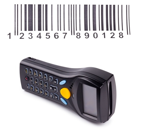 Electronic manual scanner of bar codes isolated on white photo