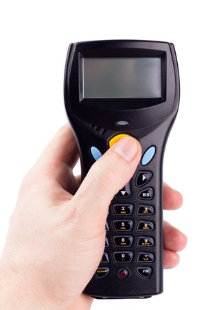 Electronic manual scanner of bar codes in man hand photo