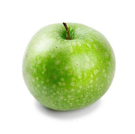Ripe and juicy green apple a shank upwards isolated on a white background
