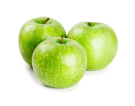 Three ripe and juicy green apples nearby with each other isolated on a white background Stock Photo