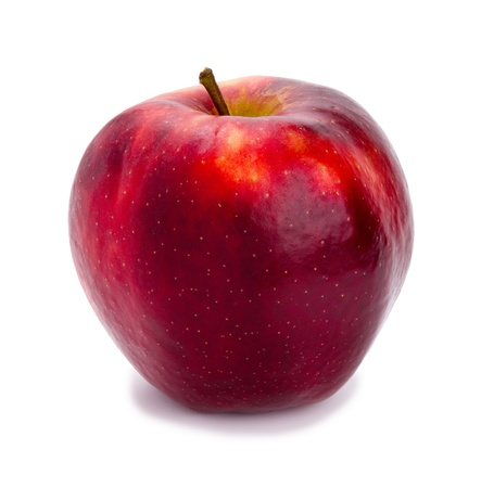 Ripe and juicy red apple a shank upwards isolated on a white background Stock Photo