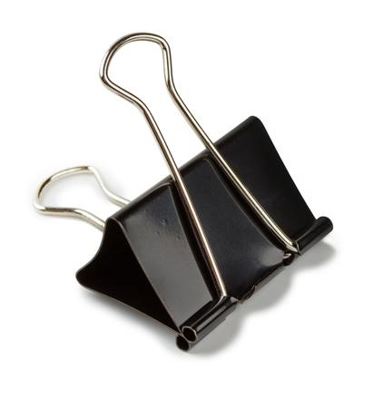 black binder clip isolated on white background Stock Photo