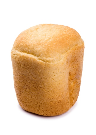 Fresh hot home-made bread from an electric oven isolated on white background
