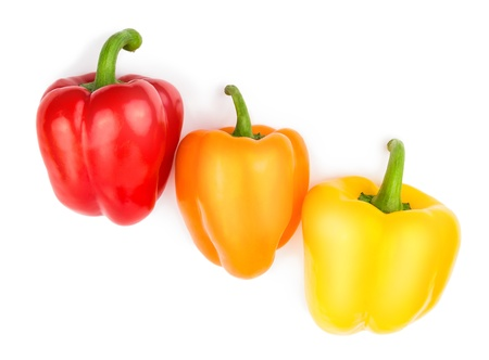 Paprika  pepper  red, orange and yellow color isolated on a white background
