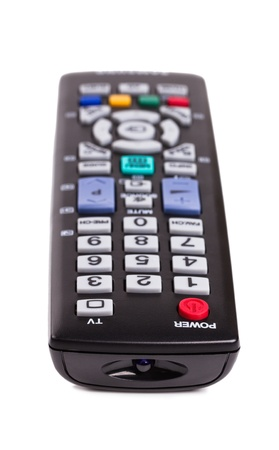 Black TV remote control isolated on white background Stock Photo