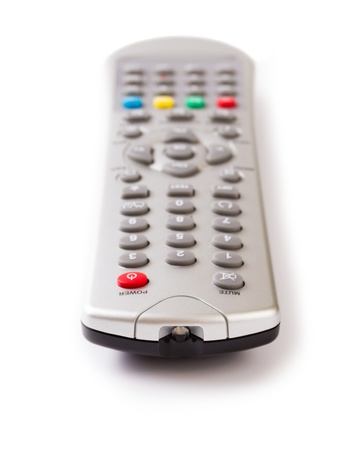 Silver TV remote control isolated on white background