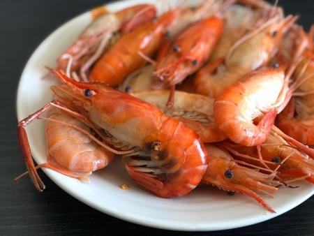 Boiled shrimps on plate