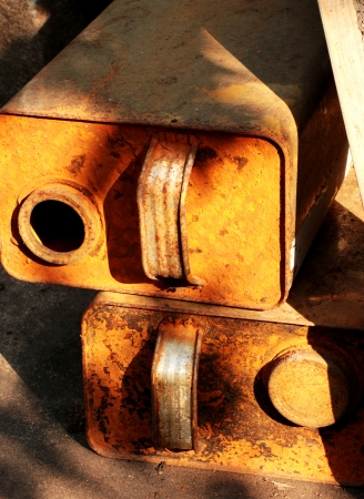 Old, rusty chemical canisters  Banco de Imagens