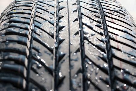 vulcanization: wet new tyre  tire  Stock Photo