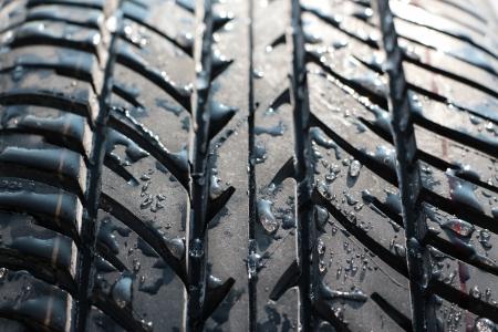 vulcanization: wet car tyre  tire