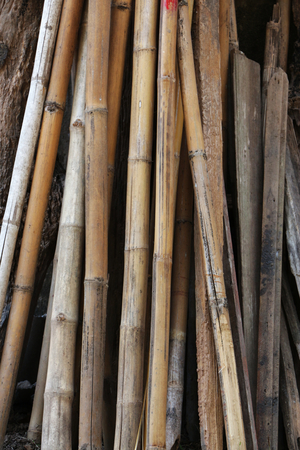 scaffolds: A group of old bamboo stalks Stock Photo