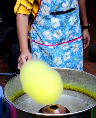 Yellow cotton candy photo