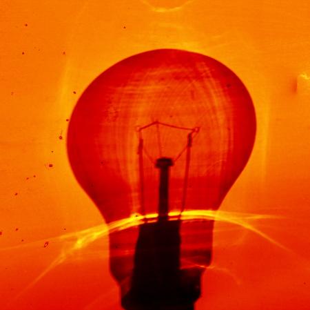 incandescent: Incandescent bulb s shadow Stock Photo
